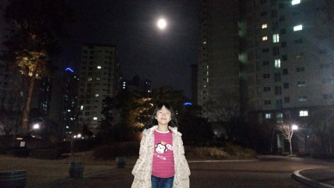 딸과 함께 보름달 소원빌어요^^
